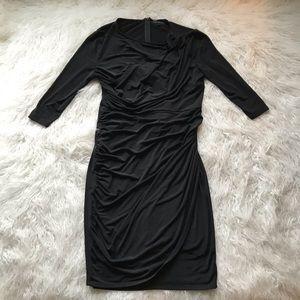 LANE BRYANT BLACK RUCHED FAUX WRAP DRESS SHEATH